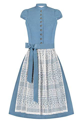 Lieblingsgwand Moser Trachten Baumwolle Midi Dirndl 65er hellblau gepunktet Creme Madleine 006522, Rocklänge: ca. 65cm, mit Knopfleiste, Größe 38