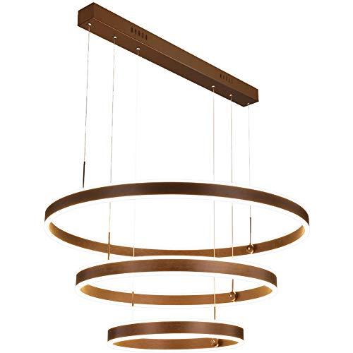 Xiqan Luces Colgantes, lámpara de Techo LED Moderna con atenuación Continua y Modo de 3 Colores, lámpara de Techo de Control Remoto Ajustable de 3 Anillos (110-240V)
