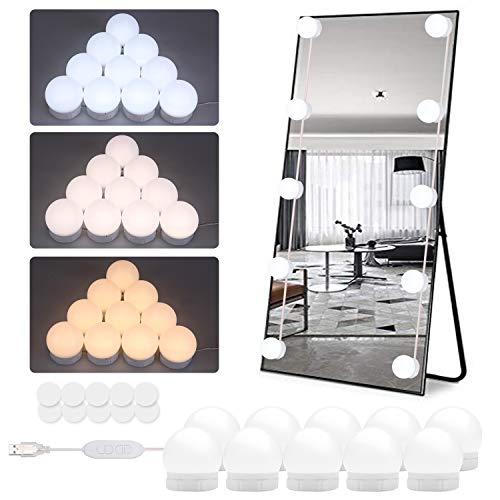 Timker Luces LED Kit de Espejo con 10 Bombillas regulables 3 Modos Ajustable de Color de Luz USB Luz Espejo Maquillaje,Tocador,Espejo,Baño,Regalo 3000K-6500K - Nueva actualización