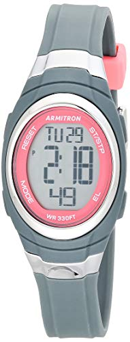 Armitron Sport Women's Quartz Sport Watch with Resin Strap, Gray, 12 (Model: 45/7034PGY)