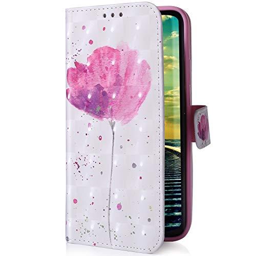 Uposao Kompatibel mit Handyhülle Sony Xperia XA2 Plus Handytasche Bling Glitzer Glänzend Bunt Leder Schutzhülle Brieftasche Ledertasche Lederhülle Klapphülle Book Hülle Wallet Flip Cover,Rosa Blumen