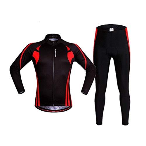 WANG LIQING - Pantalones unisex para ciclismo, jersey, Jacket, conjunto de manga larga y pantalones largos rellenos para bicicleta, leggings, varios orificios de ventilación para una mayor transpirabilidad., XX-Large