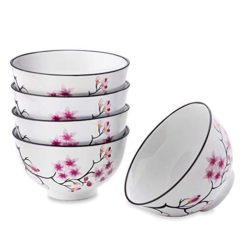 Panbado Porzellan 5-teilige weiße Kirschblüten Reis Obstschalen, japanische Suppenschüssel 500ml