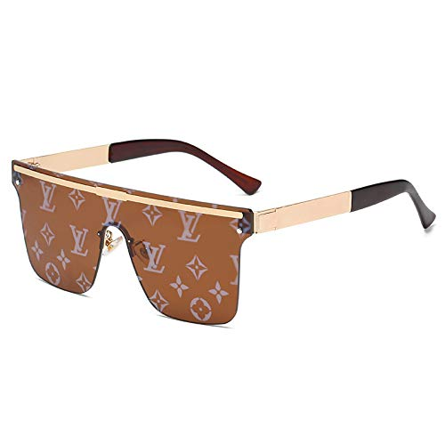 APCHY Gafas De Sol Vintage para Hombre para Mujer Decoración De Metal De Moda Protección Ultraligera UV400 Conducir Viajar Gafas Ligeras,E