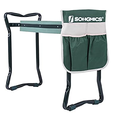 SONGMICS Garden Kneeler Seat with Upgraded Large Tool Pouch and Soft Kneeling Pad Foldable Stool UGGK49L