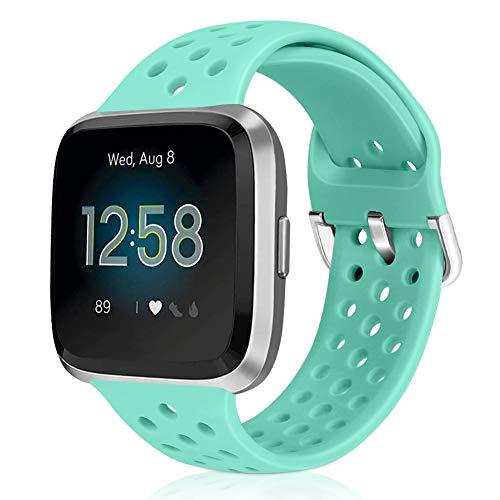 Runostrich Sportgurt Kompatibel mit Fitbit Versa/Versa 2/Versa Lite/SE, Ersatz für atmungsaktives Armband mit weichem Silikonband für intelligente Fitnessuhren für Frauen Männer (Marine Green)