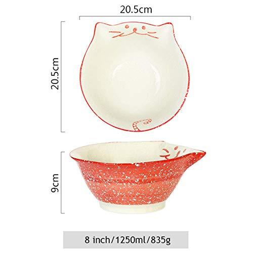 Mstr 8 inch kitten kom keramische noedelkom grote ramen schaal restaurant servies gelukkige kat kat soep kom