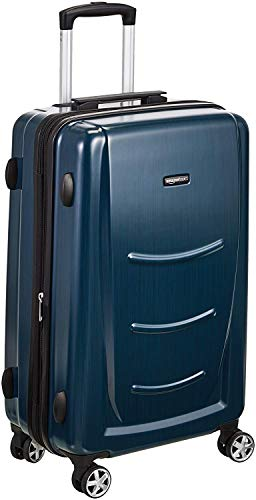 AmazonBasics Hard Shell Carry On Spinner Suitcase Luggage - 26.7 Inch, Navy Blue