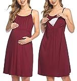 HOTLOOX Umstandskleid Stillkleid Damen Ärmellos Sommer Geburt Nachthemd Nursing Dress Lang Nacht Kleider spaghettiträgern Weinrot Medium