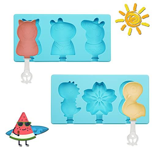 Eisformen Silikon,2 Stück Eisformen Eis am Stiel Silikon,Eisförmchen Popsicle Formen,Eisform Eis am Stiel Formen BPA frei,Eiswürfelformen Silikon,für Kinder Erwachsene