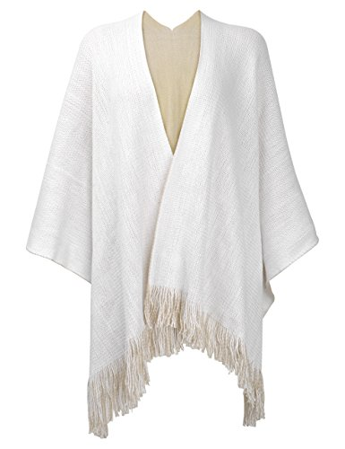 ZLYC Women's Reversible Winter Knitted Faux Cashmere Fringe Poncho Capes Shawl Cardigans Sweater Coat (White)