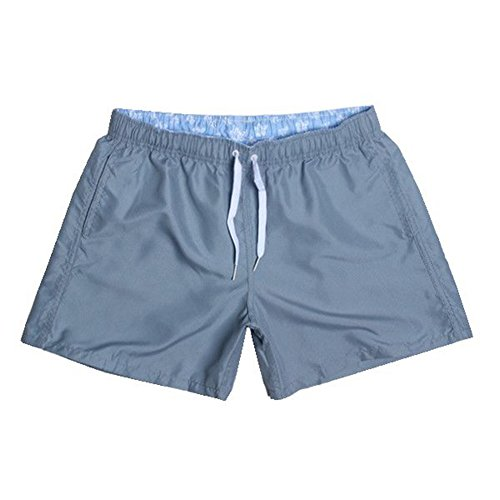 Rusinll-Placte Quick Drying Shorts Men Swimwear Men's Surf Swim Boxer Trunks Beach Solid Briefs Gray M