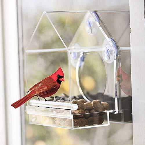Offre Spéciale pour Animaux De Compagnie Mangeoire pour Oiseaux Cage à Oiseaux Maison Forme Transparente Acrylique Oiseau Maison Claire Plafond Fenêtr