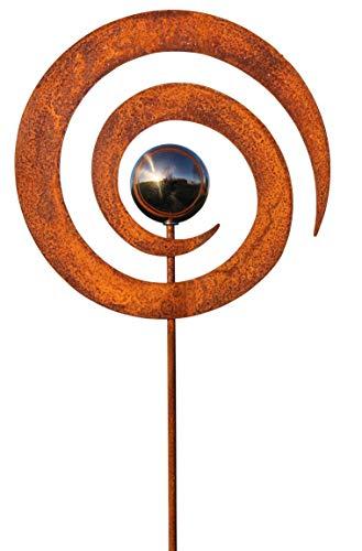 Bornhöft Gartenstecker Metall Kreisel Rost Gartendeko rostige Dekoration Edelrost mit Edelstahlkugel