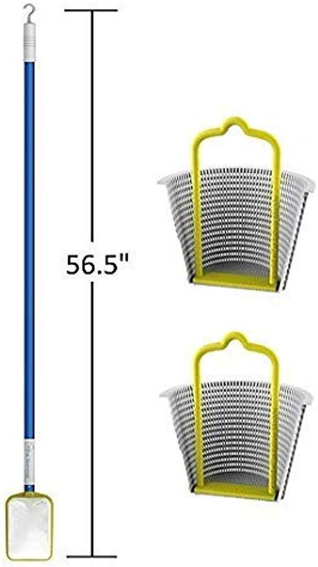 Small Pool Skimmer Leaf Rake Net And Hook For Cleaning The Skimmers 2 Universal Skimmer Basket Handle Accessories Skim Around The Pool And Hot Tub SPA With The Lightweight Pole