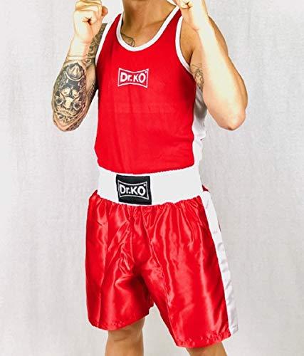 Dr. K.O. Uniforme de de Boxeo - Conjunto de 2 Piezas (Camiseta y Pantalones Cortos) - para Adultos y niños (Rojo, XL)