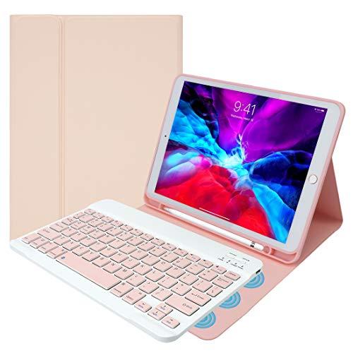 LAMA Funda con teclado Bluetooth compatible con iPad 2020 de 10,2 pulgadas (8ª generación) / iPad 2019 (7ª generación), iPad Air de 10,5 pulgadas (3ª generación) / iPad Pro 2017