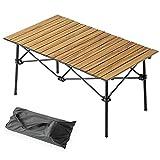 タンスのゲン アウトドアテーブル キャンプ ロールトップ式 幅91×55cm 木目調 アルミ製 軽量 収納ケース付 コンパクト アウトドア テーブル バーベキュー ナチュラル 44400093 00 【73939】