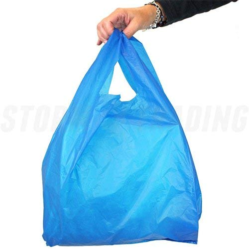 01b6432fd279 100 x Strong Blue  Vest  Style Plastic Carrier Bags - 12