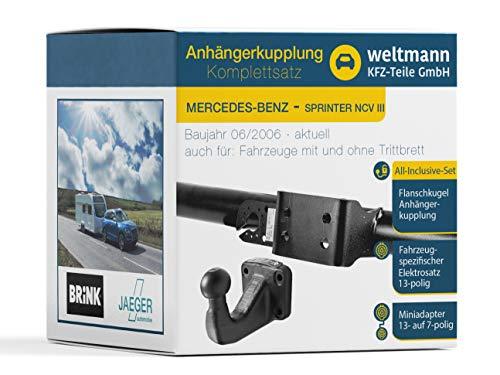 Weltmann AHK complete set geschikt voor Mercedes-Benz Sprinter NCV III 5-t, platform/chassis Brink 4-gats trekhaak + voertuigspecifieke Jaeger Automotive elektrische set 13-polig