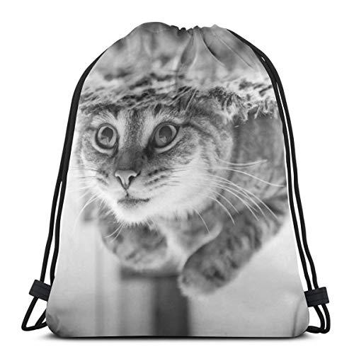 N/B Animal-Lindo-Cat Mujeres Niña Arte Cordón Mochila Bolsa de Viga Boca Gimnasio Bolsa de Hombro Para Hombres y Mujeres