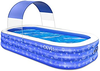 Oeves 120 Inch x 72 Inch x 22 Inch Inflatable Swimming Pool with Canopy