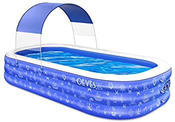 Inflatable Swimming Pool for Kids and Adults Full-Sized Family Kiddie Blow up Swim Pools with Canopy Portable Backyard Summer Water Party Outdoor Indoor Garden Lounge Outside Ages 3+ Toddlers