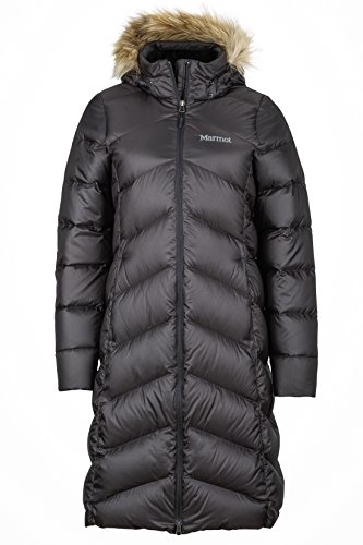 Marmot Damen Leichte Daunenjacke, 700 Fill-Power, Warmer Parka, Wintermantel, Wasserabweisend, Winddicht Wm's Montreaux Coat, Black, S, 78090