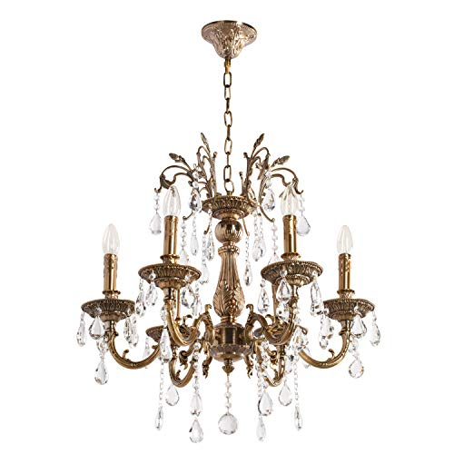 MW-Light 301013506 Lustre Baroque à 6 Lumières en Métal couleur Bronze Antique avec Lampes Bougies décorées de Pampilles en Cristal pour Salon Salle de Séjour 6x60W E14