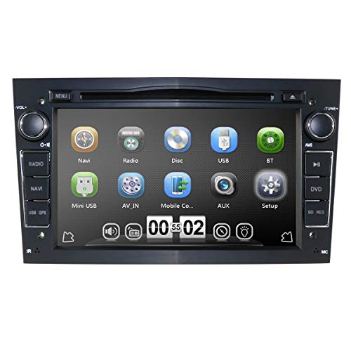 Reproductor de DVD estéreo DIN Car Doble con Pantalla de 7 Pulgadas Mirror-Link Bluetooth GPS RDS SWC SD Reproductor Multimedia de música/Radio/Video para Opel Antara Combo Zafira (Negro)