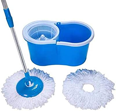 Majron 360° Spin Floor Cleaning Easy Bucket PVC Mop with 2 Microfiber Heads