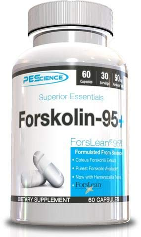 PEScience Forskolin-95+, Patented 95% Pure Forskolin Extract with Zero Fillers, 60 Capsules