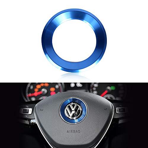 VDARK kompatibles Lenkrad Logo Kappen Dekoration Aufkleber Aluminiumlegierung für VW Volkswagen Zubehör Bling Jetta Passat Golf Tiguan Arteon Atlas enthält Trim Trim Rot Silber Blau (Blau)