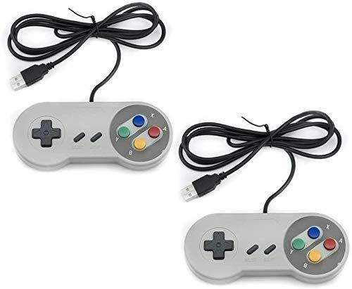 QUMOX 2 x Nintendo Gioco PC GamePad Controllore SFC per PC Windows USB Super Famicom