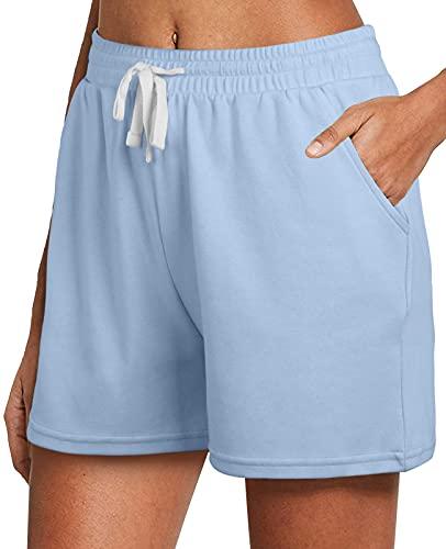 Dofaoo Shorts for Women Casual Summer Pajama Shorts for Women Elastic Waist Blue M