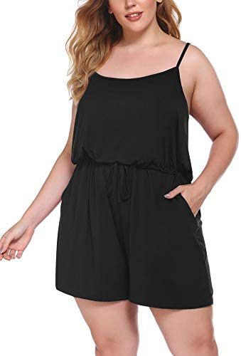 IN VOLAND Women Rompers Plus Size Summer Casual Jumpsuit Adjustable Spaghetti Strap Drawstring product image