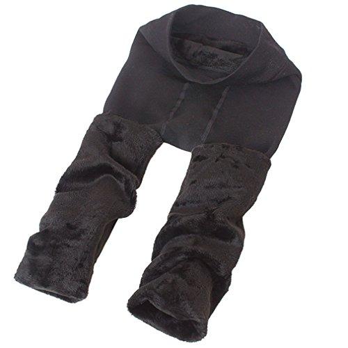 Romastory Winter Warm Women Velvet Elastic Leggings Pants (Dark Gray)