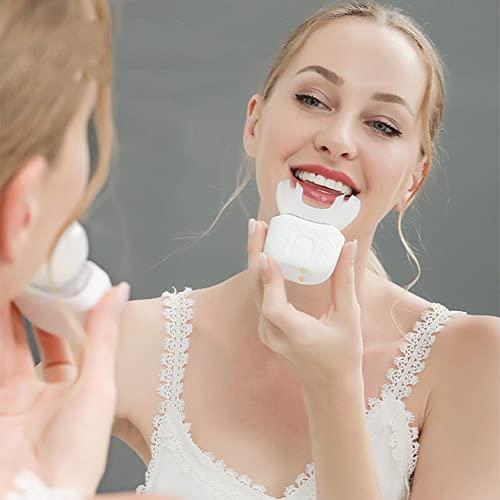 XLNB Cepillo De Dientes Eléctrico para Adultos, Cepillos De Dientes En Forma De U para Blanquear Los Dientes, Limpieza Bucal De 360 °, Protección De Las Encías Manos Libres,Blanco