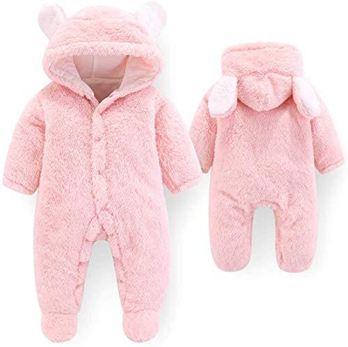 JAWSEU - Mono de invierno para bebés recién nacidos, con forro polar, con capucha, diseño de oso de dibujos animados rosa Talla:0-3 meses