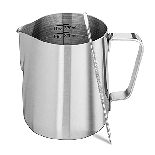 Milk Frothing Pitcher, ENLOY Stainless Steel Creamer Frothing Pitcher, Perfect for Espresso Machines, Milk Frothers, Latte Art 12 oz (350 ml)