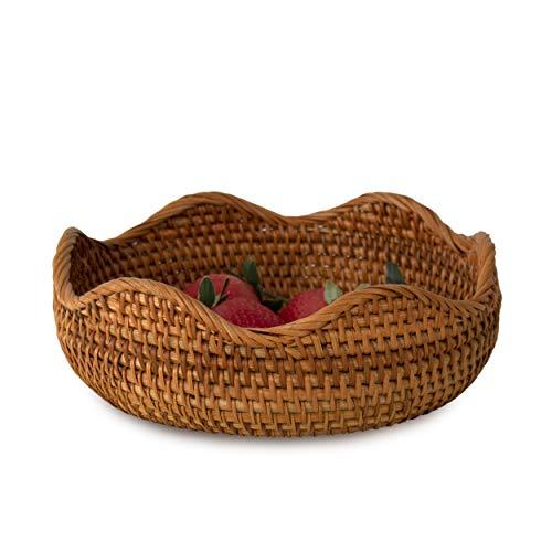 Premium Rattan Woven Fruit Basket Bowls, Handmade Wicker Decorative Bread Fruit Snack Food Storage Bowl Chic Rustic Boho Tabletop Countertop Table Kitchen Decor, Great Housewarming Gift (Flower waves)