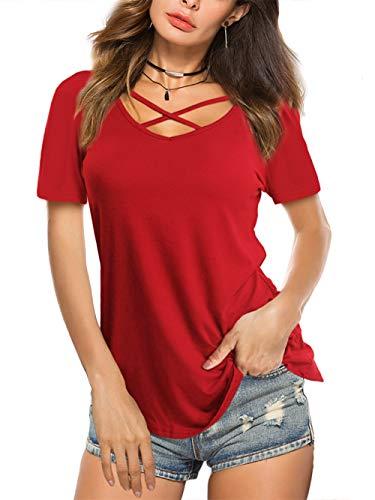 Amoretu Women Short Sleeve Tops V Neck Criss T Shirts Blouse for Summer(Red,S)