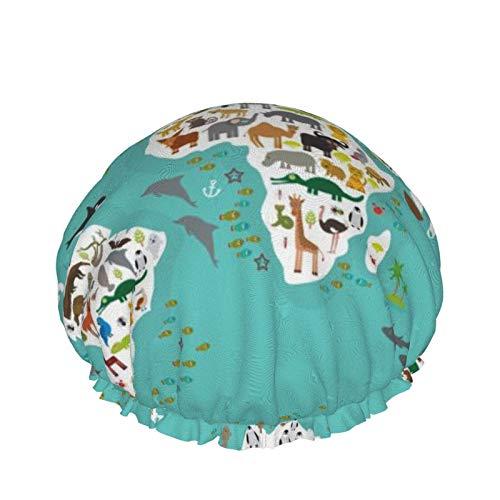 Meir-ltd - Gorro de ducha, diseño de dibujos animados, diseño de animales para niños y niños, doble capa impermeable, protección para el cabello, goma EVA, reutilizable y ajustable