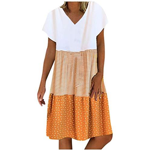 LIU NIAN 여성 여름 플러스 사이즈 드레스 패치 워크 반소매 캐주얼 루즈 V 넥 SUNDRESS 솔리드 컬러 튜닉 드레스