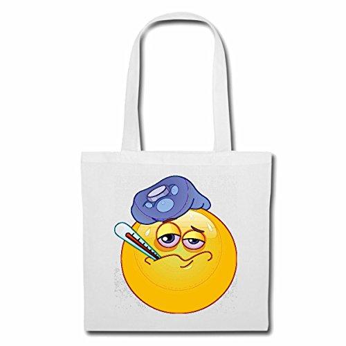 Tasche Umhängetasche KRANKER Smiley MIT FIEBERTHERMOMETER Smileys Smilies Android iPhone Emoticons IOS GRINSE Gesicht Emoticon APP Einkaufstasche Schulbeutel Turnbeutel in Weiß