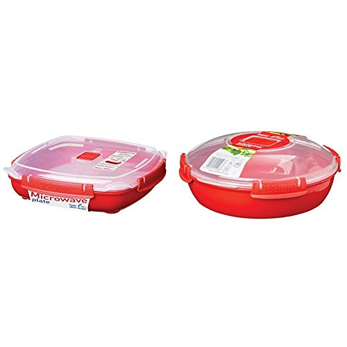 Sistema Großer Behälter Für Mikrowelle, 1,3L & Microwave Teller, 1,3l, rot