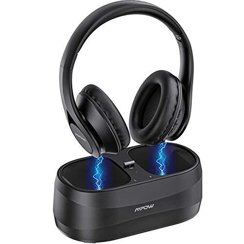 Cuffie senza fili per TV con trasmettitore Bluetooth 5.0, ricarica facile wireless, cuffie stereo suono, cuscinetti morbidi, riproduzione 25 ore, ottica, RCA, AUX, porta USB per ampia compatibilità