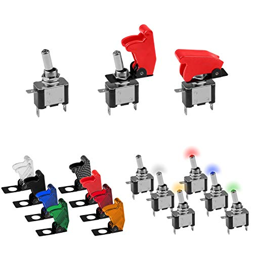 KFZ Kippschalter in 5 verschiedenen LED Farben und passende Kill-Switch Kappen zur Auswahl (Kappe Schwarz)