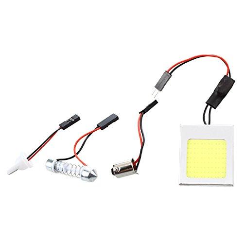 SODIAL(R)Panneau 48 COB LEDs Blanc 12V + Adaptateur T10 BA9S Navette