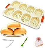 BESLIME Mini Teglia da Forno, Silicone Stampo Mini Baguette, padella antiaderente - Vassoio per pane croccante, stampo da forno, 23.8x34.5cm, Colori Caramelle